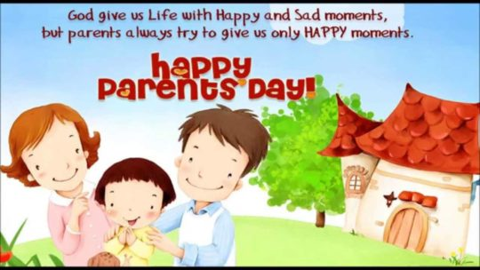 Cartoon Card For Parents Day Wishes With Sweet Home