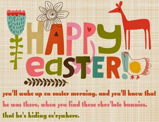 Colorful Card With Happy Easter Wishings