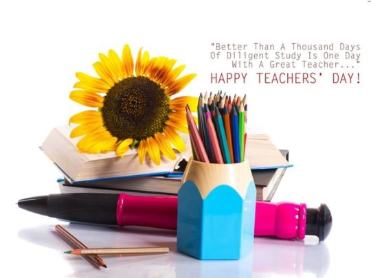 Colorful Card With Sun Flower And Great Message On Teachers Day Wishes
