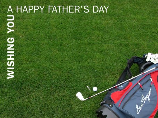 Fathers day Wishes With Green Card And Golf Stick Gift