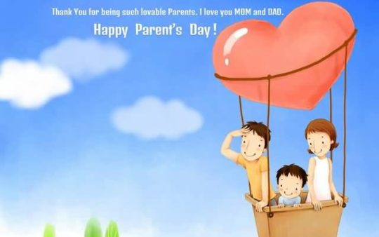 Parents Day Wishes With Mom  And Dad In Parachute