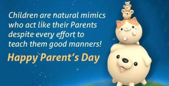 Piggy Parents Day Wishes Card In Crazy Style