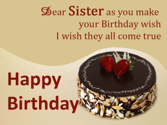 Birthday Chocolate Cake Images With Wishes : Gorgeous Chocolate Cake Birthday Wishes For Sister E-Card ...