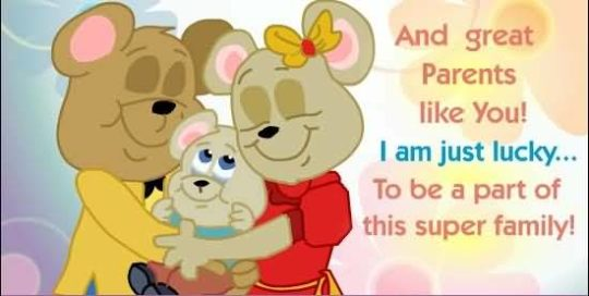Teddy Parents Day Wish Card With Wording