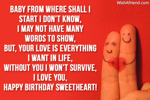 Baby From Where Shall I Start I Don't I Love You Happy Birthday` Sweetheart