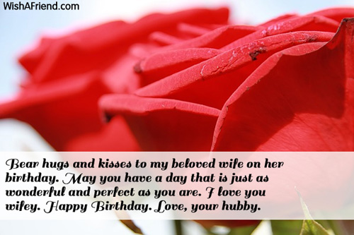 Bear Hugs And Kisses To My Beloved Wife On Her Birthday Happy Birthday Love Your Birthday
