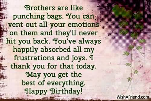 Brother Are Like Punching Bags May You Get The Best Of Everything Happy Birthday