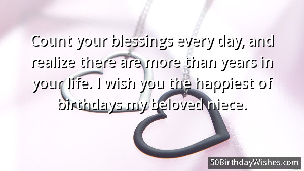 Count Your Blessing Every Day And Realize There Are More Than Years In Your Life I Wish You The Happiest of Birthday My Beloved Niece