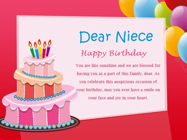 Dear Niece Happy Birthday You Are Like Sunshine And We Are Blessed For Having You As A Part Of