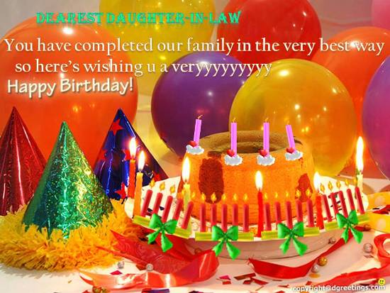 Dearest Daughter In Law You Have Completed Our Family In The Very Best Way Happy Birthday