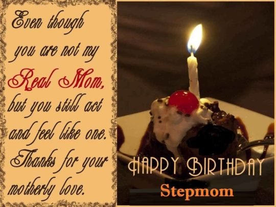 Even Though You Are Not My Real Mom Thanks For Your Motherly Love Happy Birthday Stepmom