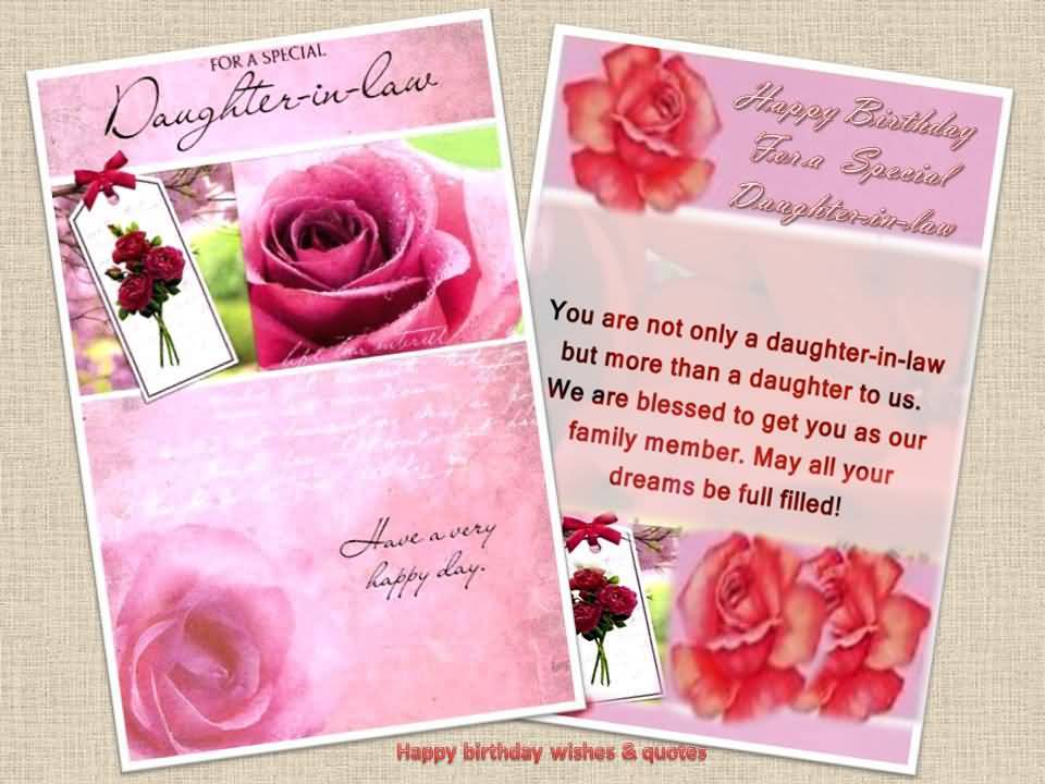 For A Special Daughter In Law Have Very Happy Birthday