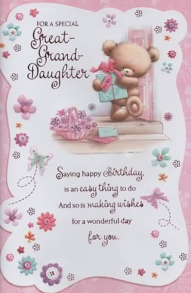 For A Special Great Grand Daughter Saying Happy Birthday
