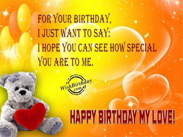 For Your Birthday I Just Want To Say I Hope You Can See How Special You Are To Me Happy Birthday My Love