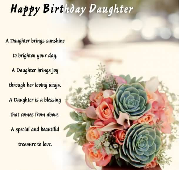 Happy Birthday Daughter A Daughter Brings Sunshine To Brighten your Day