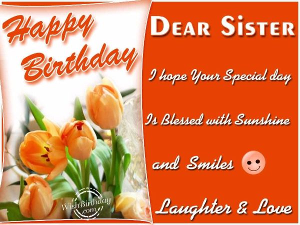 Happy Birthday Dear Sister I Hope You Special Day
