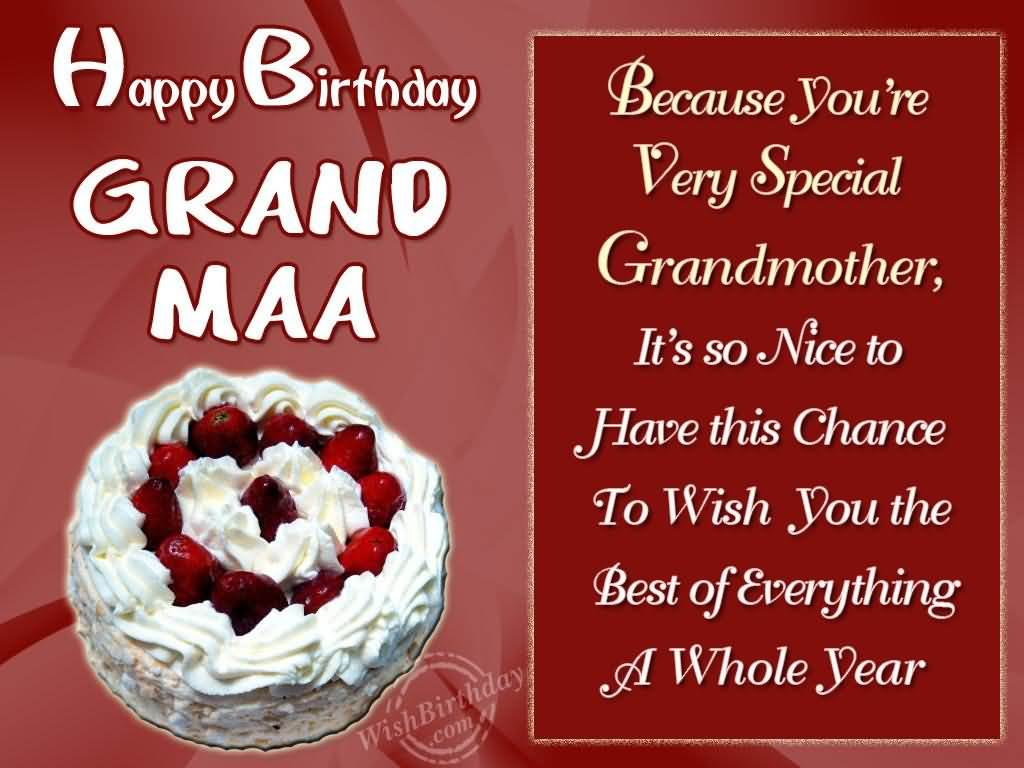 Happy Birthday Grand Maa Because You're Very Special Grandmother
