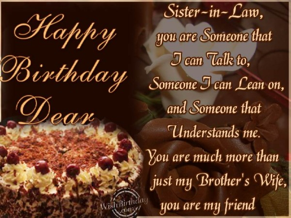Happy Birthday Sister In Law You Are someone That I Can Talk To