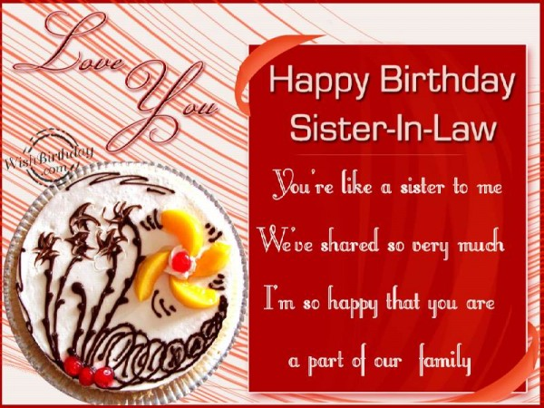 Happy Birthday Sister In Law You're Like A Sister To Me