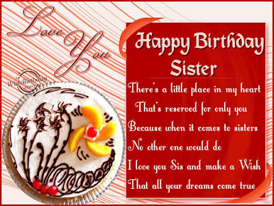 Happy Birthday Sister There's A Little Place In My Heart Love Youq