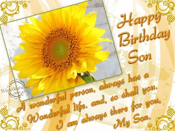 Happy Birthday Son A Wonderful Person Always Has A Wonderful Life And So Shall You I Am Always There For You My Son