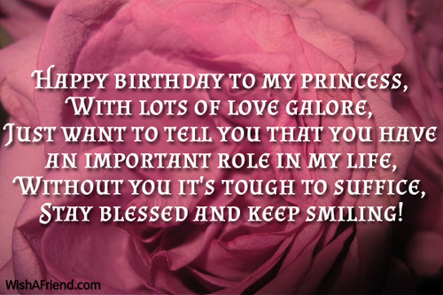 Happy Birthday To My Princess With Lots Of Love Galore Stay Blessed And Keep Smiling