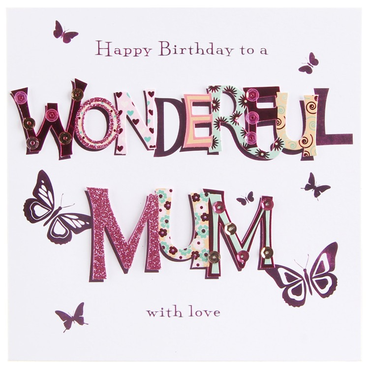 Happy Birthday Wonderful Mum With Love