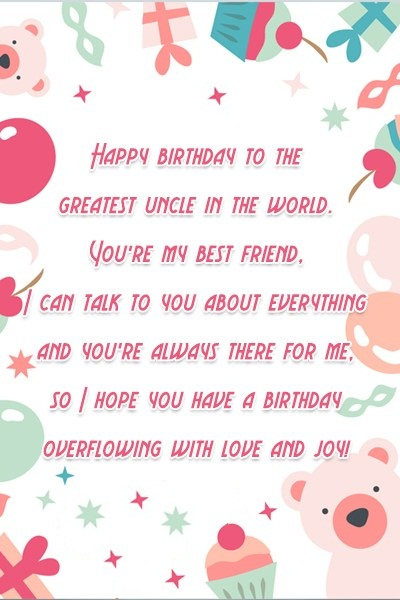 Happy Birthdya To The Greatest Uncle In The WorldI Hope You Have A Birthday Overflowing With Love And Joy