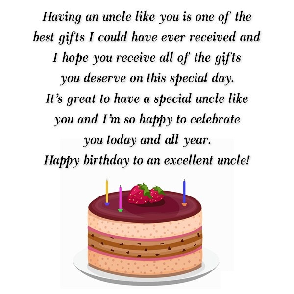 Having An Uncle Lioke You Is One of The Best Gift Happy Birthday To An Excellent Uncle