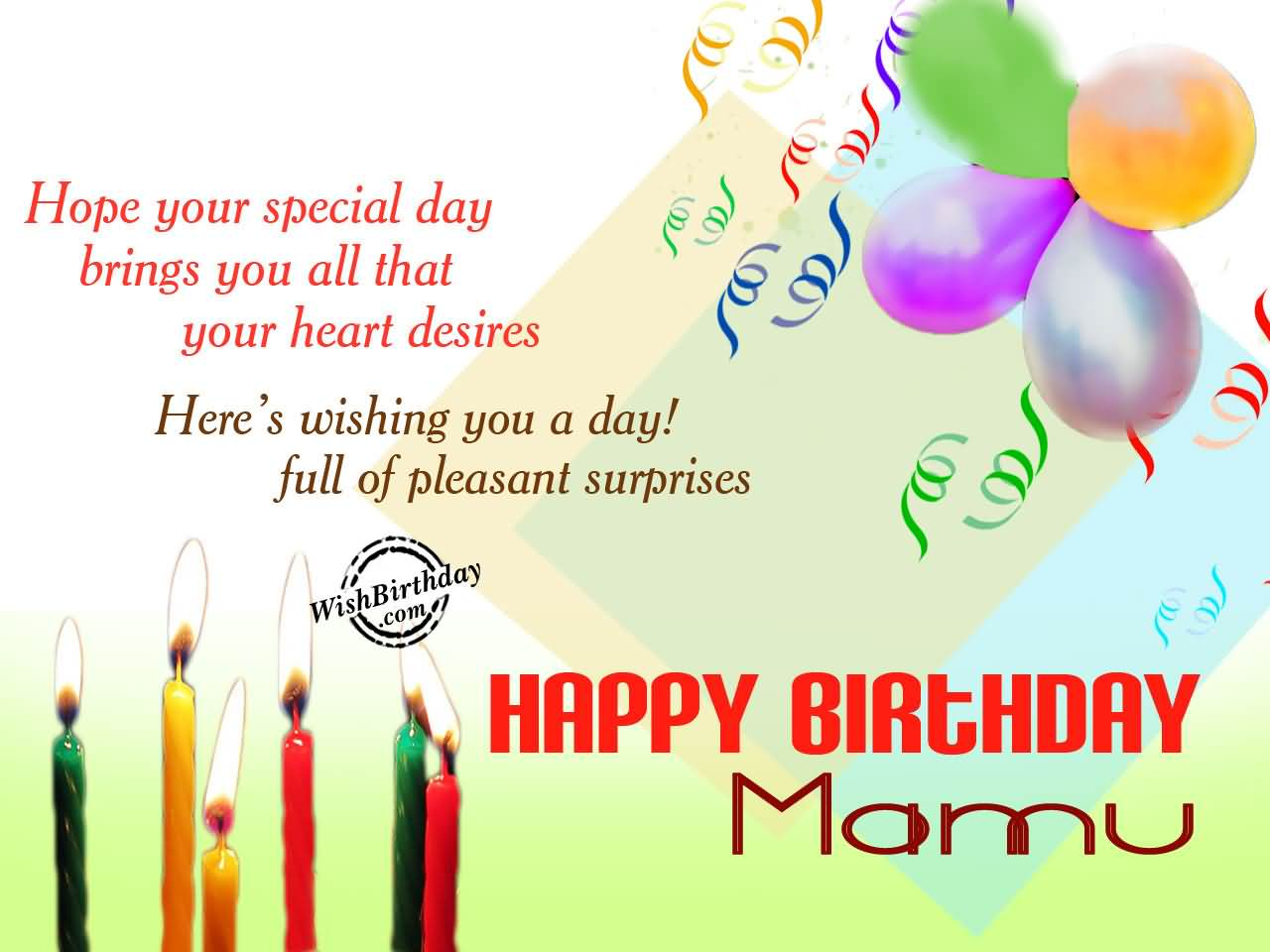 Hope Your Special Day Brings You All That Happy Birthday Mamu