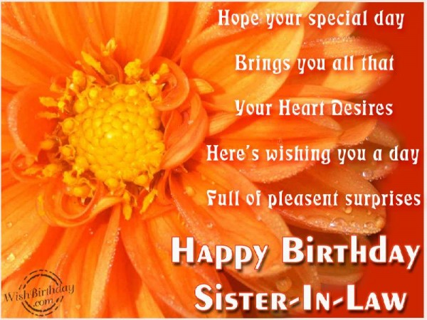Hope Your Special Day Brings You All That Your Heart Desires Here's Wishing You A Day Happy Birthday Sister In Law