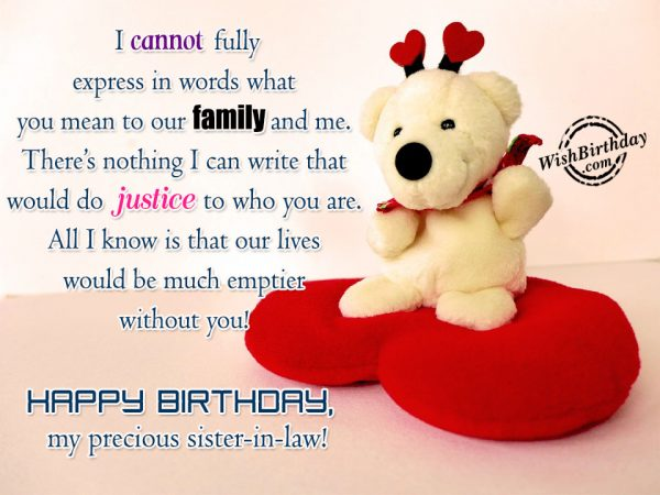 I Cannot Fully Express In Words What You Mean To Our Family And Me Happy Birthday My Precious Sister in Law