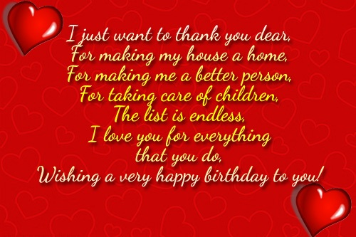I Just Want To Thank You Dear For Making My House A Home Wishing A Very Happy Birthday To You