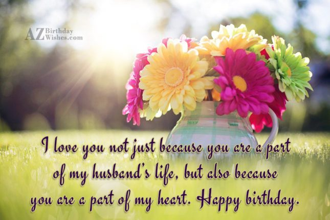 I Love You Not Just Because You Are A Part Of My Husband's Life Happy Birthday