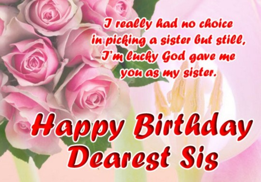 I Really Had No Choice In Picking A Sister But Still I'm Lucky God Gave Me You As My Sister Happy Birthday Dearest Sis