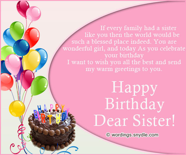 If Every Family Had A Sister Like You Then The World Would Be Such A Blessed Place Indeed Happy Birthday Dear Sister