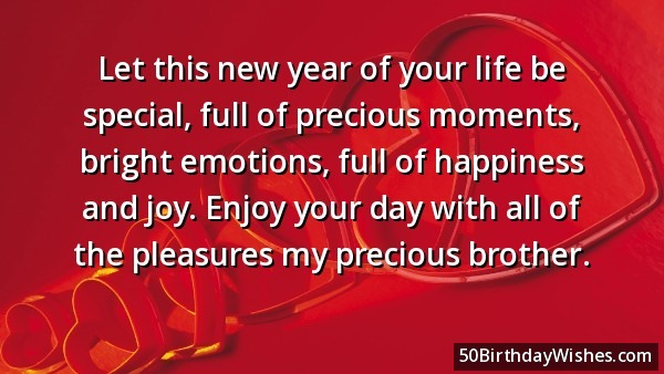 Let This New Year Of Your Life Be Special Enjoy Your Day With All Of The Pleasures My Precious Brother