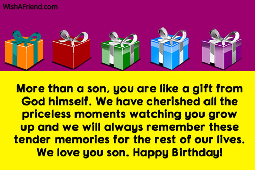More Than A Son You Are Like A Gift From God We Love You Son Happy Birthday