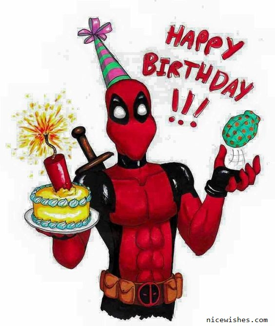 Nice Deadpool Funny Cartoon Bithday Wish
