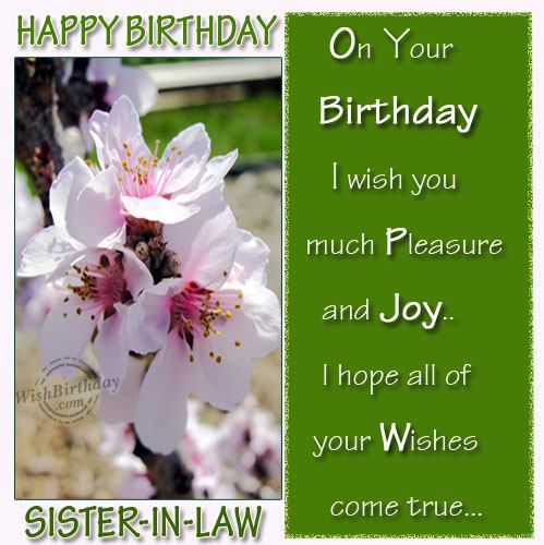 On Your Birthday I Wish You Much Pleasure And Joy I Hope All Of Your Wishes Come True Happy Birthday Sister In Law