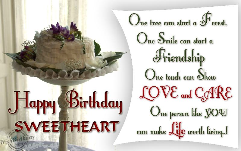 One Treee Can Start A Forest One Smile can Start A Friendship Happy Birthday Sweetheart