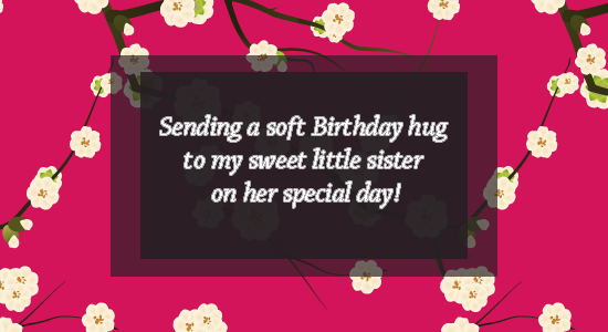 Sending A Soft Birthday Hug To My Sweet Little Sister On Her Special Day