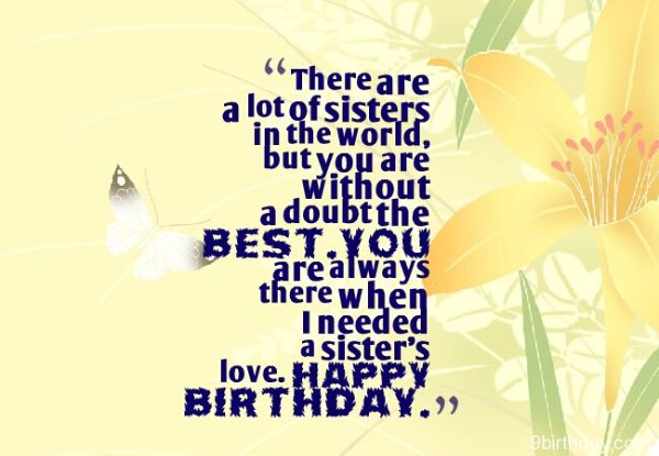 There Are A Lot Of Sisters In The World I LOve You Happy Birthday