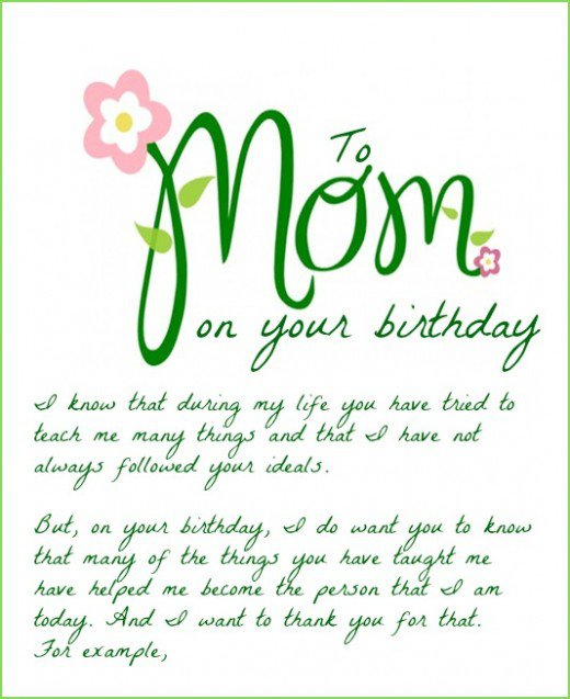 To Mom On Your Birthday I Know That During My Life You Have Tried To