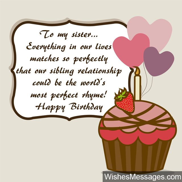 To My Sister Everything In Our Lives Matches Happy Birthday