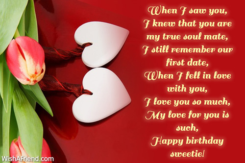 When I Saw You I Few That You Are My True Soul Mate Happy Birthday Sweetie