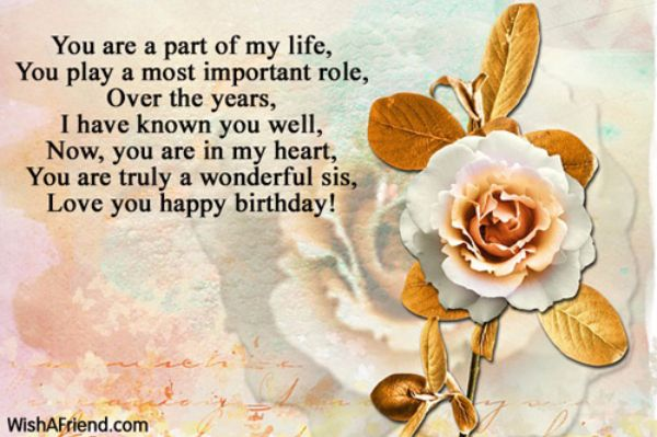 You Are A Part Of My Life You Play A Most Important Role Love You Happy Birthday