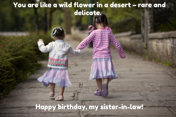 You Are Like A Wild Flower In A Desert Rare And Delicate happy Birthday My Sister In Law