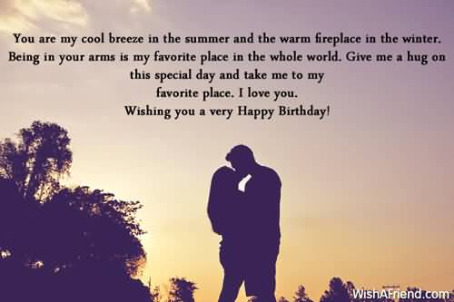 You Are My Cool Breeze In The Summer And The Warm Fireplace In The Winter I Love You Wishing You  A Very Happy Birthday