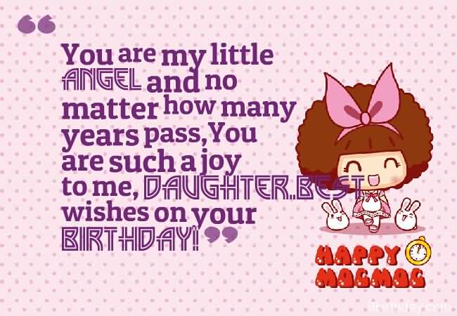 You Are My Little Angel And No Matter How Many Years Pass Wishes On Your Birthday
